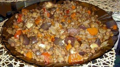 Чечевица с баклажанами : Вторые блюда в мультиварке
