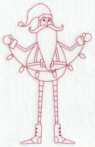 Skinny Santa with Lights (Redwork)