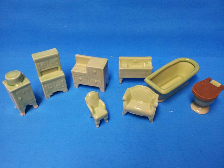 Vintage Lot of 9 Ceramic Dollhouse Furniture Japan | eBay