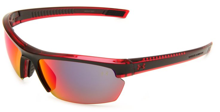 Under Armour Under Armour Stride XL Rectangle Sunglasses, Crystal Red Frame Black Front spray Mask Frame/Gray & Infrared Multiflection Lens, One Size