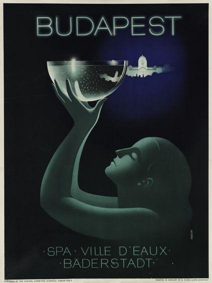 György Konecsni's poster 193x, Budapest Spas