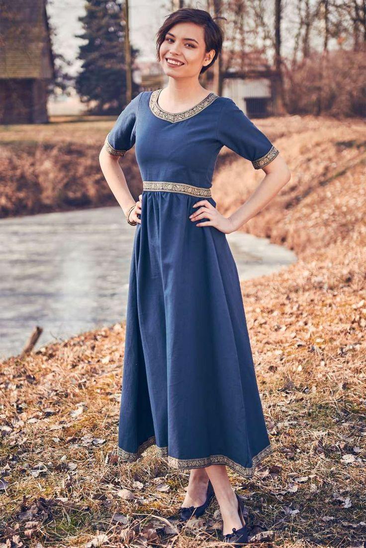 mittelalter kleid ennlin mit kurzarm blau mittelalter kleid kleider