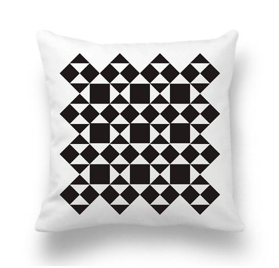Geometric pillow cover in black and white. - Material: The backs of the covers feature the same fabrics as the front and have an envelope closure for easy access. Always same fabric print on front and back  -Care : Machine wash cold, mild detergent. Air Dry Only - Machine Drying is not recommended - Do not Dry Clean. Hot iron as needed.  IMPORTANT: These are COVERS ONLY! You can cover your existing pillows or purchase inserts online or at any local craft store.Awesome colorful and modern…