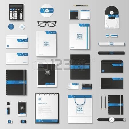 immagine coordinata: set Modello di identità corporativa. Cancelleria di affari mock-up con. Branding design. Notebook, carta, catalogo, penna, matita, distintivo, tablet pc, cellulare, carta intestata.