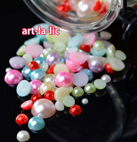 Set of 800pcs Mix Size Pearl Beads Gems DIY Deco Case iPhone Phone Scrapbook | eBay
