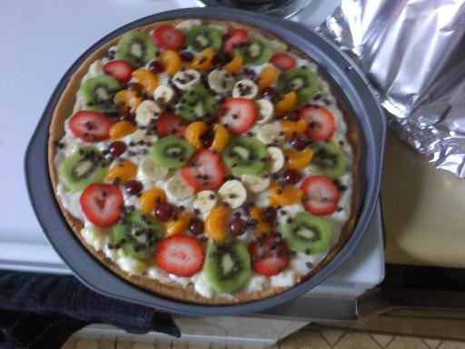 Pampered Chef Dessert Pizza! Was phenomenal! I replaced the nuts with mini chocolate chips and used vanilla yogurt. I need to make this again.
