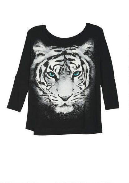 Artistic Tiger Face Tee - View All Graphic Tees - Graphic Tees - Clothing - dELiA*s