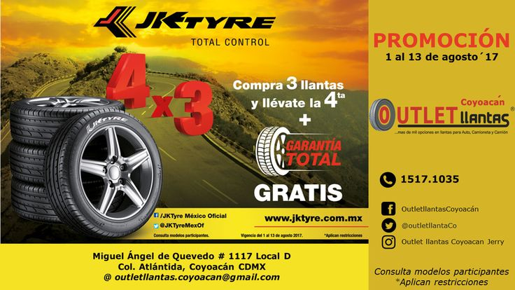 JK-TYRE Promoción 4 x 3              Outlet llantas Coyoacán           15171035 #llantas #coyoacan #jktyre