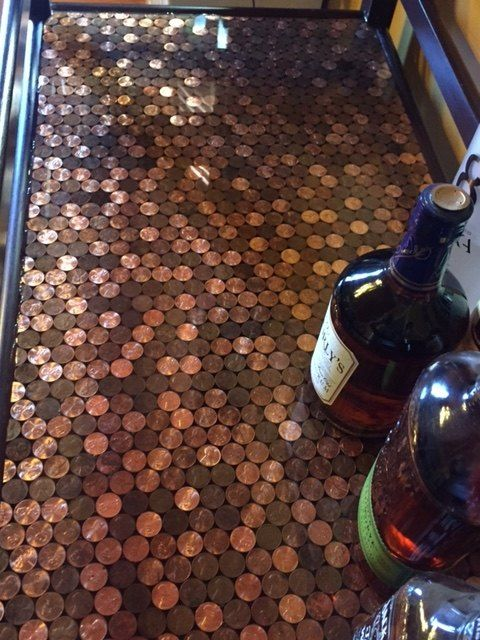 Best 25 copper bar ideas on pinterest bar tops for Copper penny bar top