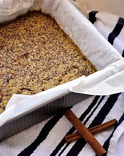 Cinnamon Quinoa Bars: Oven at 375°. Mix 4 eggs-beaten, 1/3 cup vanilla soy milk, 1/3 cup maple syrup (optional)  1 teaspoon vanilla extract, and 1 tablespoon cinnamon. Add the mixture to 2 1/2 cups quinoa-cooked and cooled and spread it onto a baking dish. Bake for 20-25 min.