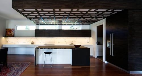 Solid Surface splash back with Bronze Inlay