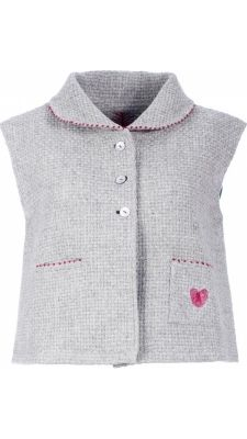 """</span></p> <p style=""""line-height: 11.85pt;""""><span style=""""font-family: arial, helvetica, sans-serif; font-size: 8pt; color: #000000;"""">Vest in grey wool. Fastens with 3 mother of pearl bottons.</span></p> <p style=""""line-height: 11.85pt;""""><span style=""""font-family: arial, helvetica, sans-serif; font-size: 8pt; color: #000000;"""">Collar and front pockets with red french kn..."""
