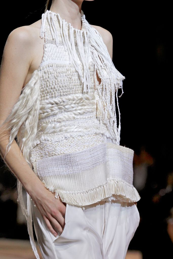 Textiles for Fashion - mixed weave top with an array of white textures & tassel fringe detail; knitwear design // Céline
