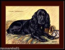 English Print Black Cocker Spaniel Puppy Dog Art Picture Poster