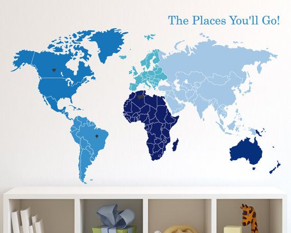 Wall Decal World Map Of Continents U0026 Map Markers Vinyl Sticker On Etsy,  $59.00