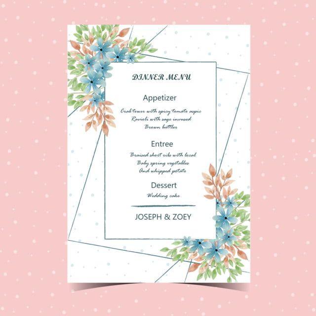 Floral Wedding Menu Card With Beautiful Flower Wedding Menu Floral Wedding Invitation Card Flower Wedding Invitation Floral Themed Wedding