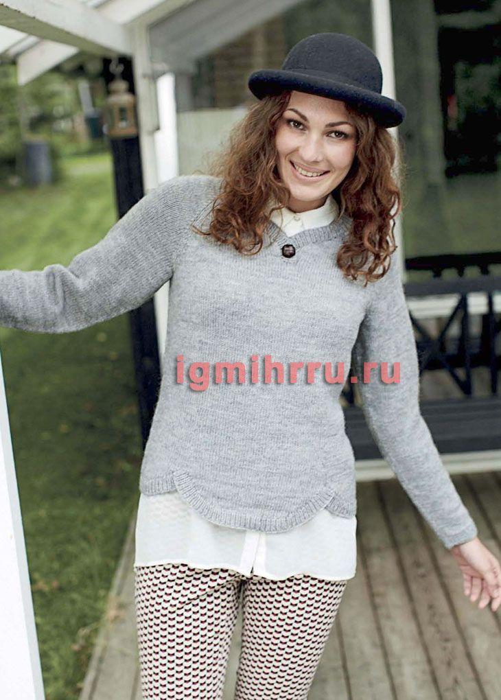светло серый шерстяной пуловер с фестонами вязание спицами