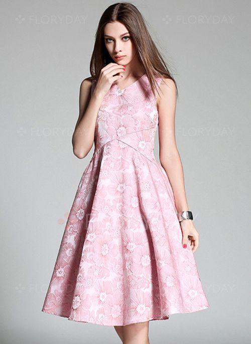 Bröllopsklänningar - $58.13 - Polyester Blommor Ärmlös Knälängd Vintage Bröllopsklänningar (1955101912)