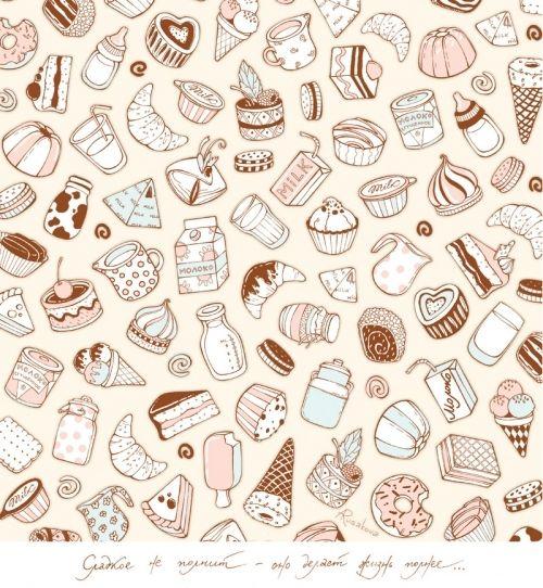 background, candy, chocolate, cupcake, cute, drawing, food, ice cream, illustration, journaling, milk, moleska, pattern, pics, sugar, sweet, sweets, wallpaper, white