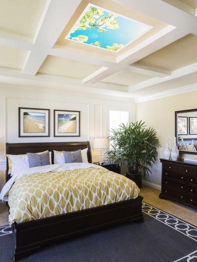 Decorative LED panel in bedroom. Dekoracyjny panel LED Wiosna 4fundesign https://ekotechnik24.pl #home #bedroom