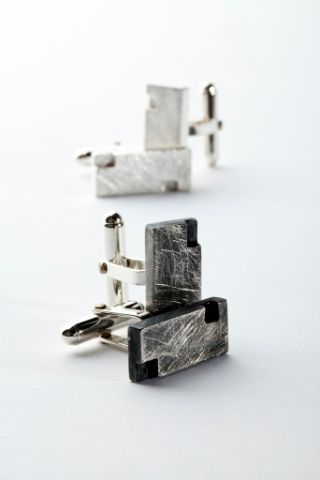 Silver solid square cufflinks-inspired by #City Landscape#