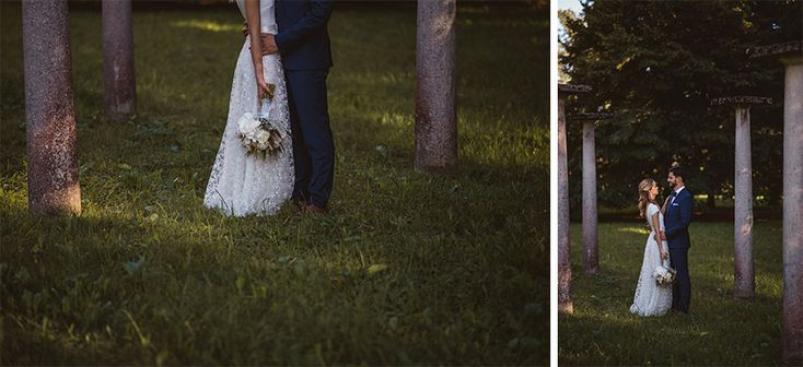 I love this simple wedding photo of the bride and groom in the park. Very rustic and mystical. Bride's beautiful dress was designed by eNVy Room .