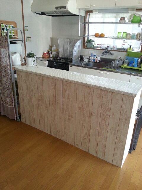 *完成* DIY タイル貼りキッチンカウンターをカラーボックスで作る② | *chocotea* 主婦5年目