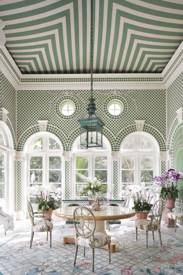 The green and white Morning Room of La Follia, from the beautiful coffee table book, Palm Beach Chic, by Jennifer Ash Rudick, via @sarahsarna.