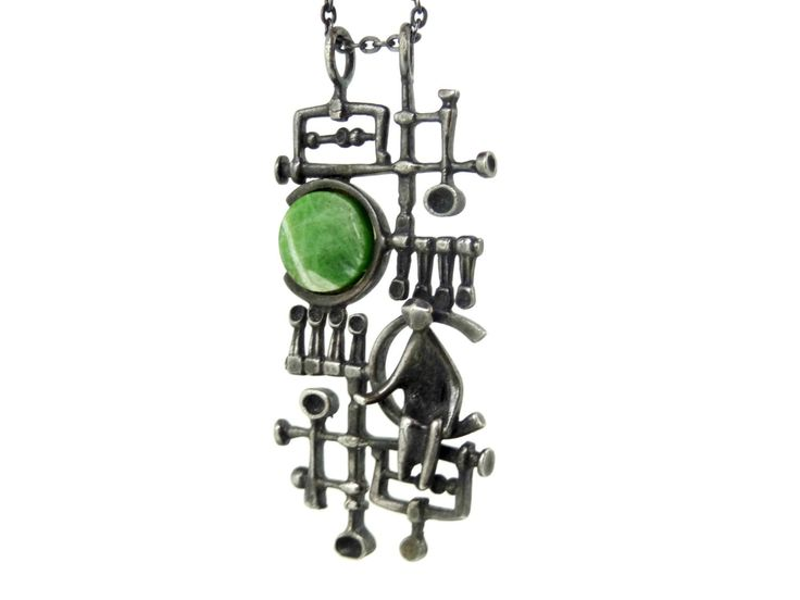 Modernist Abstract Jorma Laine Silver & Nephrite Stone Necklace Finland 1970s