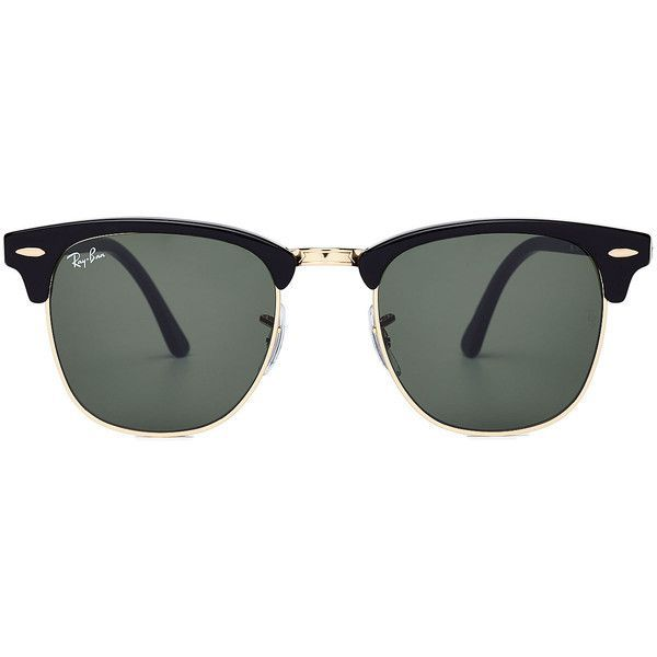 Ray-Ban RB3016 Clubmaster Sunglasses (1.640.620 IDR) ❤ liked on Polyvore featuring accessories, eyewear, sunglasses, glasses, lunettes, black, black sunglasses, ray ban sunglasses, ray-ban and ray ban eyewear