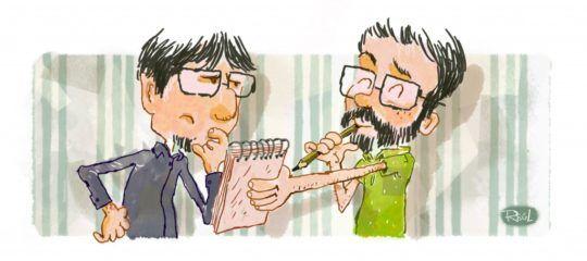 Raúl Sagospe ilustra una de las fases del proceso creativo: la mirada crítica del escritor