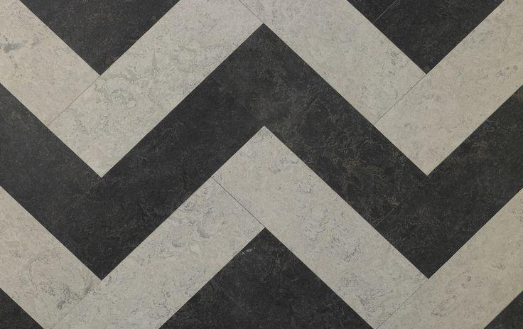 A zig zag design linoleum shown here in dark brown and for Dark linoleum flooring