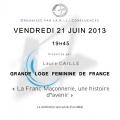 GLFF : La franc maçonnerie, une histoire davenir