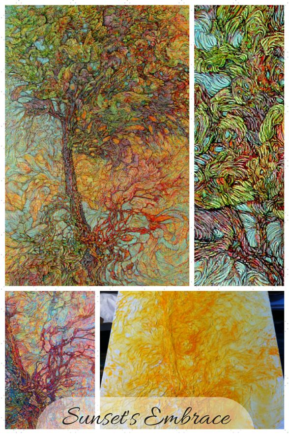 Featured Work - Paper Art by Col Mitchell - Sunset's Embrace - #tree
