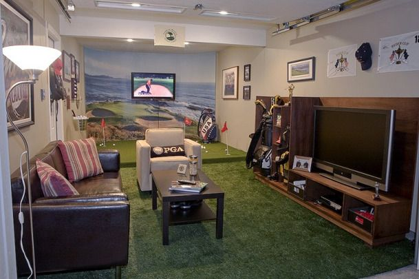 Turn Your Garage into a Golf-Garage Man Cave! #mancave #exteriors #curbappeal: Dreams Man, Golf Man Caves, Basements Man Caves, Caves Ideas, Golf Mancav, Garage Man Caves, Golfmancave580X385Jpg 580385, Golf Rooms, Golf Theme