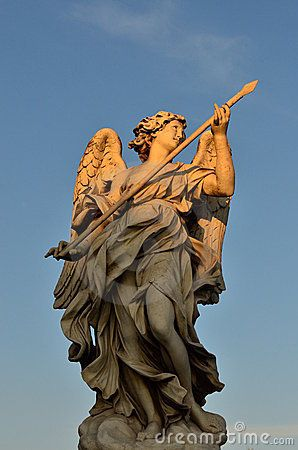 Marble Sculpture Representing One Of The Guardian Angels Outside The  Santu0027Angelo Castle In Rome