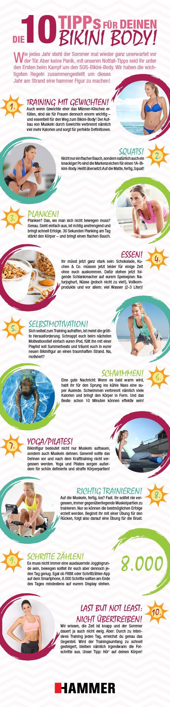 Träumst du auch vom Urlaub am Strand? Wie steht es denn mit deiner Bikinifigur? Damit du möglichst schnell, möglichst gut in Form kommst, lade dir jetzt gratis unsere 10 Bikini Body Tipps runter.  #bikini #bikinifigur #body #strand #beach #flacher #bauch #fit #training #ausdauer #beine #cellulite #orangen #haut #sonne #sport #hammersport #fitness #bauch #beine #po #body #sixpack