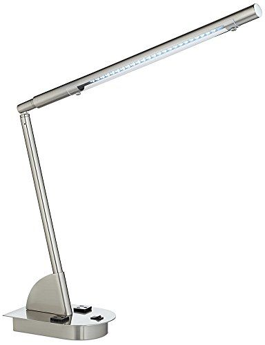 A Bright LED Desk Lamp With Power Outlets Integrated Directly Into The  Base. Adjustable LED Desk Lamp With Power Outlets. Built In 5 Watt LED  Module.