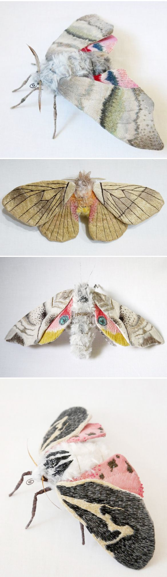 yumi okita - textile moth | my clothes would be so happy with this reversal of fortune - moths made out of fibre!