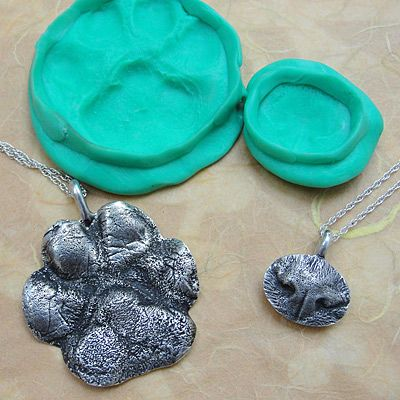 OMG! What a cute gift/memory idea! Nose or Paw Print Necklace.