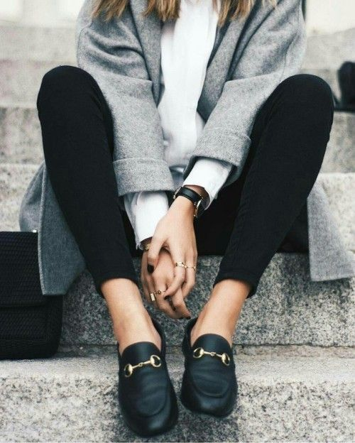 Gray and black outfit with comfortable shoes.