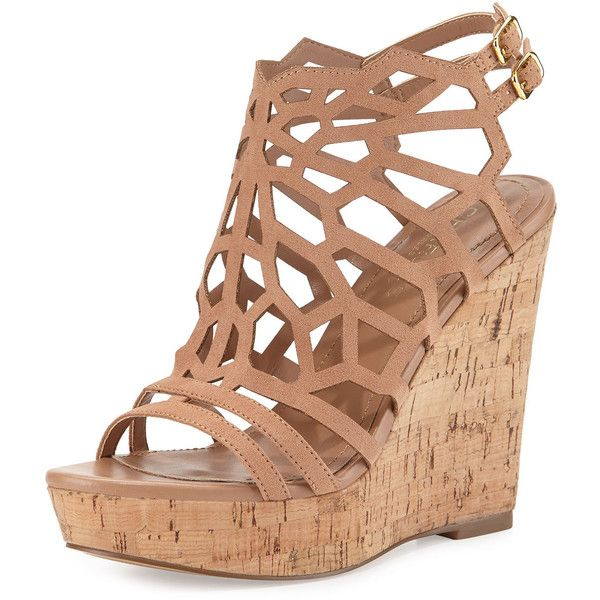 Charles by Charles David Apollo Laser-Cut Wedge Sandal (505 SEK) ❤ liked on Polyvore featuring shoes, sandals, nude, wedge sandals, open toe sandals, ankle wrap sandals, platform sandals and ankle tie sandals