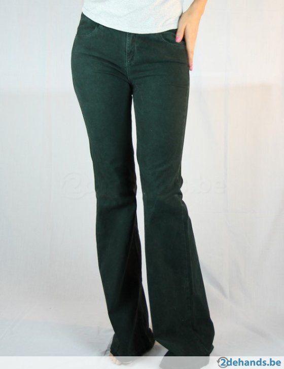 Donkergroene bootcut broek van Zara - Maat 40