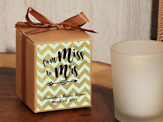 24 Personalized From Miss to Mrs Chevron Bridal Shower Party Favor - Rustic Votive Holder Favor - Rustic Bridal Shower Favors- 503-Miss Chev