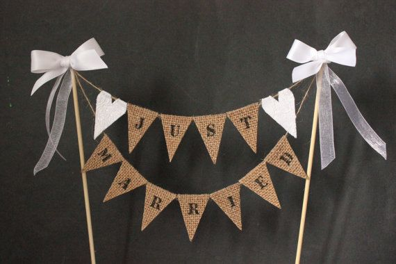 Just married wedding cake topper, mini cake bunting with hessian and white lace heart flags for country, barn, romantic or vintage wedding