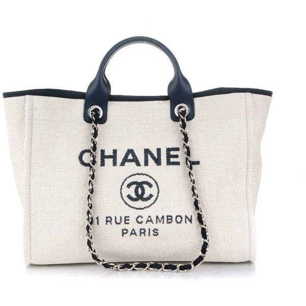 CHANEL Canvas Large Deauville Tote White Navy ❤ liked on Polyvore featuring bags, handbags, tote bags, tote handbags, canvas tote, handbags totes, tote purses and canvas purse