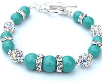 Jade verde perla Rhinestone pulsera, regalos de Dama de honor, fiesta nupcial, joyería, pulsera Bling, verde de la boda del verano