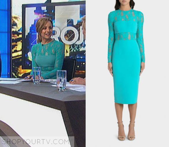 The Project: May 2017 Carrie's Green Lace Dress   Shop Your TV Carrie Bickmore wears this bright green/blue lace panel long sleeved midi dress in this episode of The Project on Tuesday the 23rd May, 2017.  It is the YEOJIN BAE Chain Link Double Crepe Leah Dress.
