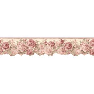 Pink Roses Wallpaper Border die cut rose wallpaper