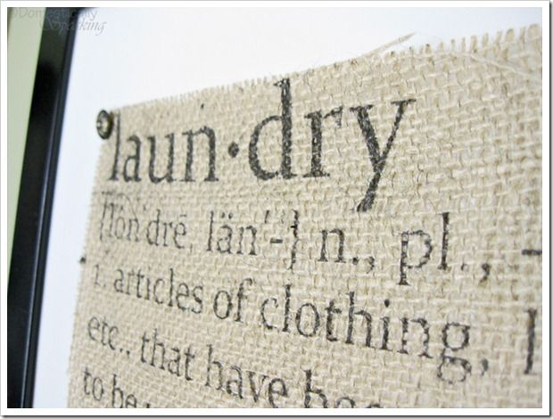 laundry room sign, love the burlap look!
